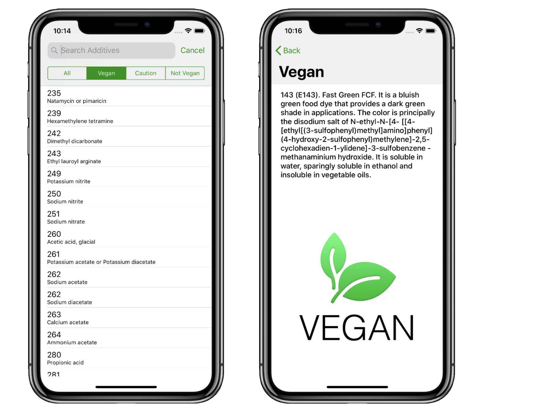 Vegan Additive Search.