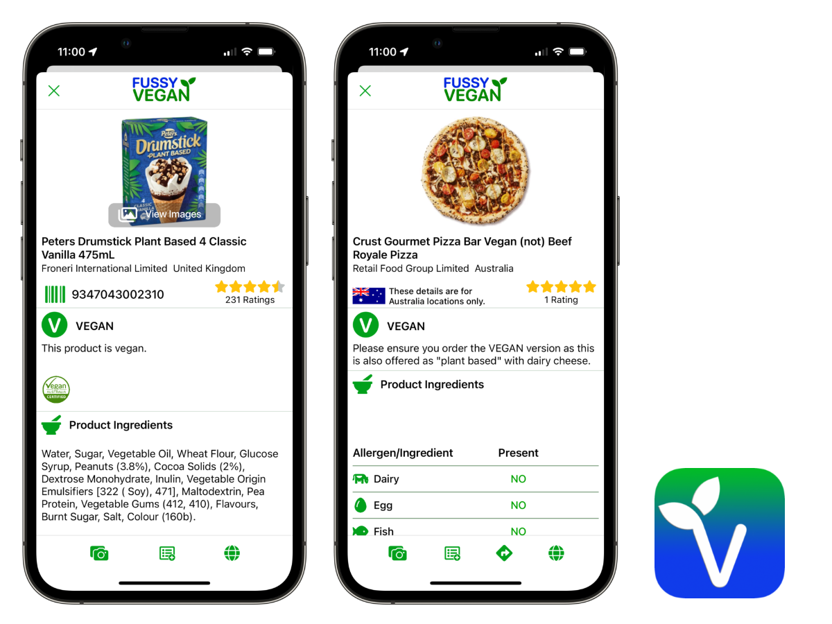 Fussy Vegan Scanner App.