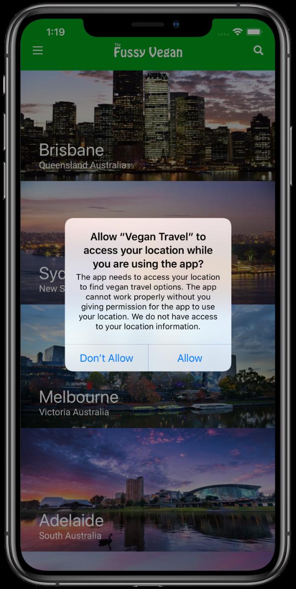 Fussy Vegan Travel Australia app