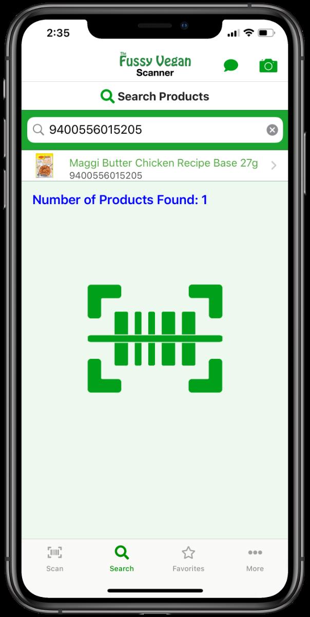 Fussy Vegan Scanner app