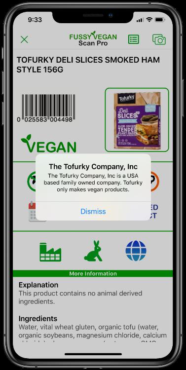 Fussy Vegan Scan Pro app